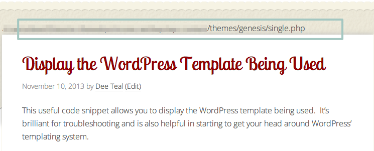 Display the WordPress Template Being Used