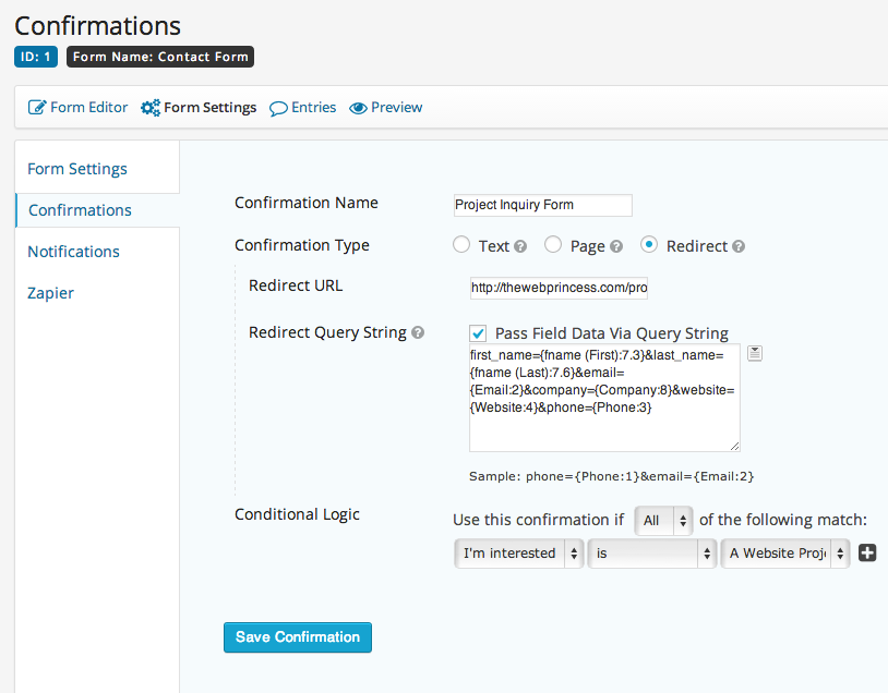 Setting up a Redirect Confirmation Gravity Forms